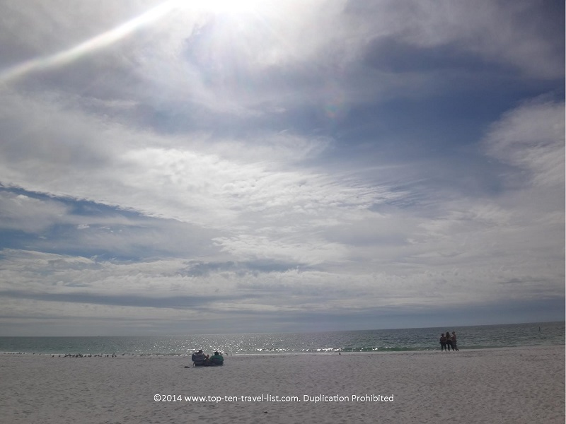 Relaxing fall day on Anna Maria Island beach in Florida