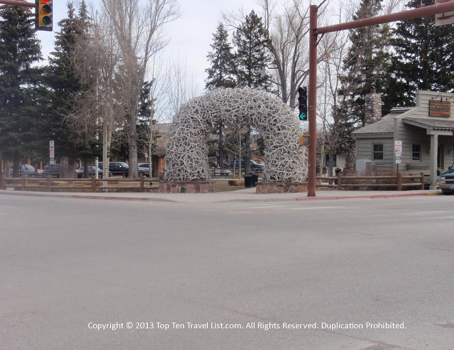 Elk antler arches in downtown Jackson Hole, Wyoming