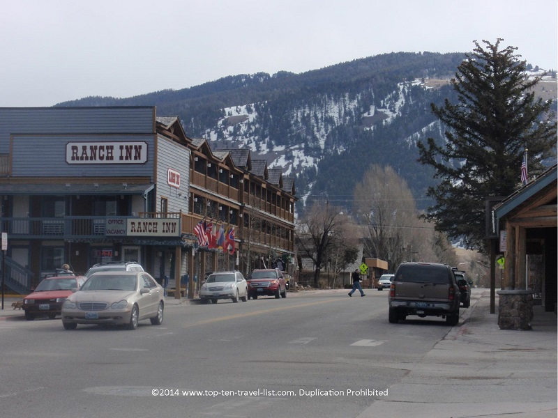 Jackson Hole, Wyoming downtown during the late winter season