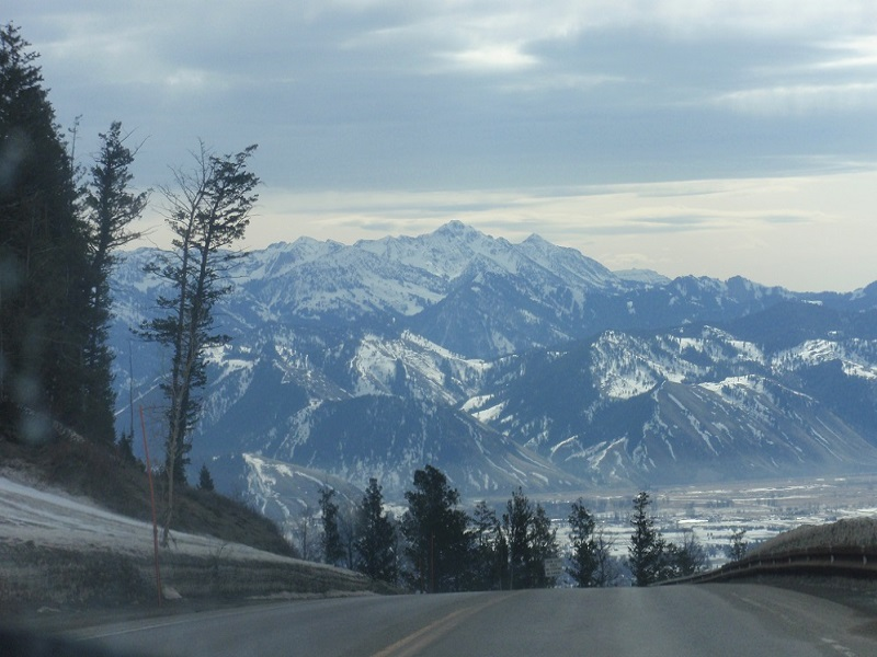 Snowy mountians on a winter visit to Jackson Hole, Wyoming
