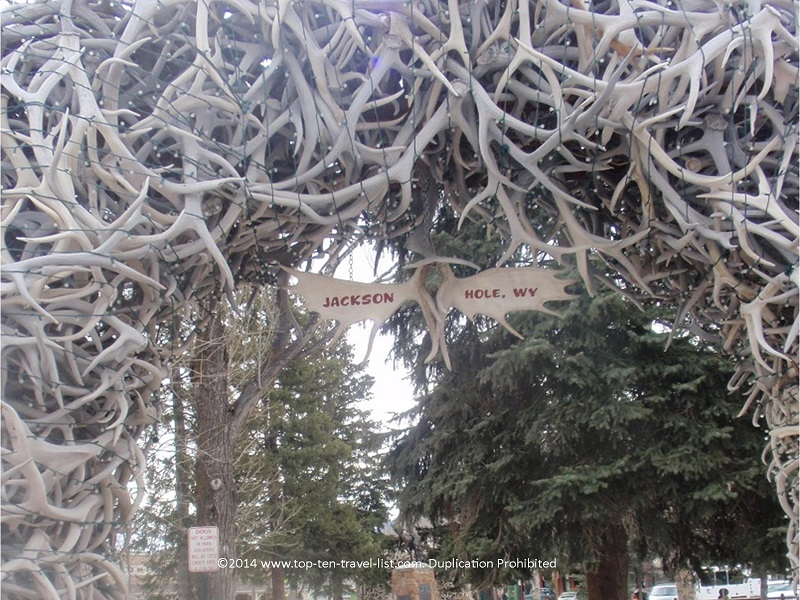 A close up of the elk antler arches in Jackson Town Square