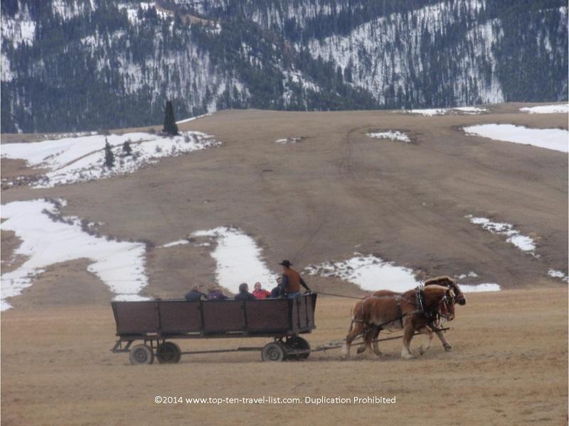 Mountain views at the beautiful National Elk Refuge in Jackson, Wyoming