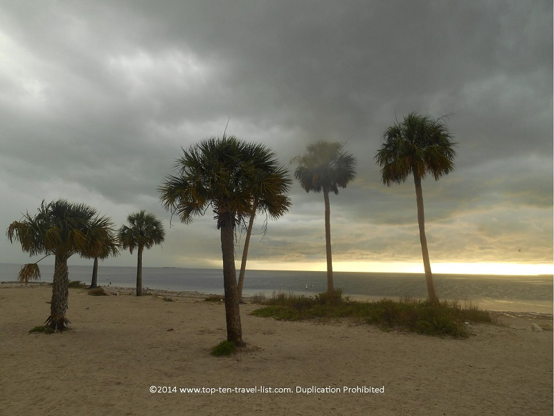 A stormy day at Sunset Beach in Tarpon Springs, Florida