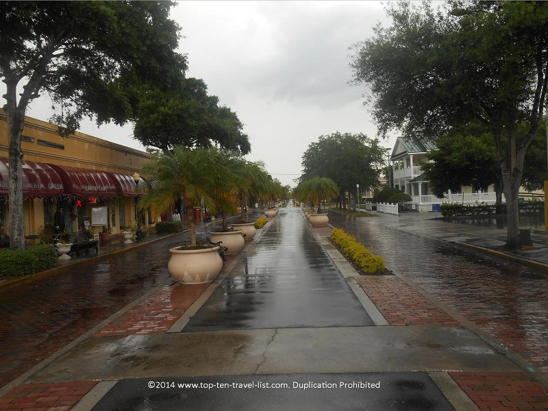 Downtown Tarpon Springs, Florida on a cloudy day