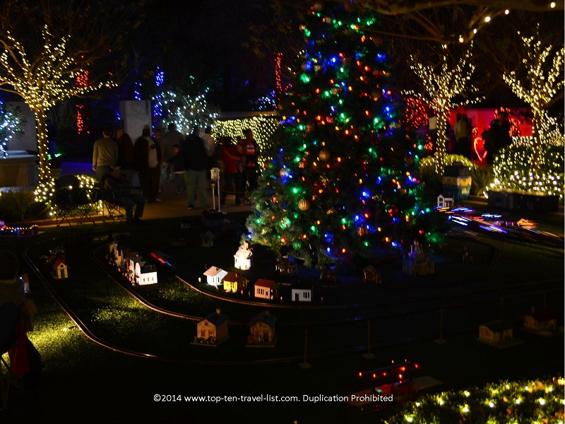 Christmas tree and train in the Wedding Garden - Florida Botanical Gardens - Holiday Lights 2014