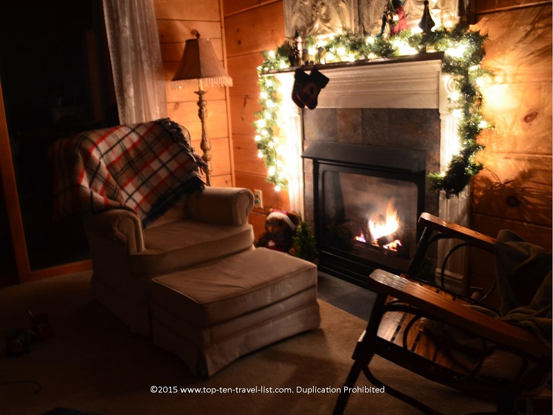 A cozy in room fireplace for those chilly winter nights