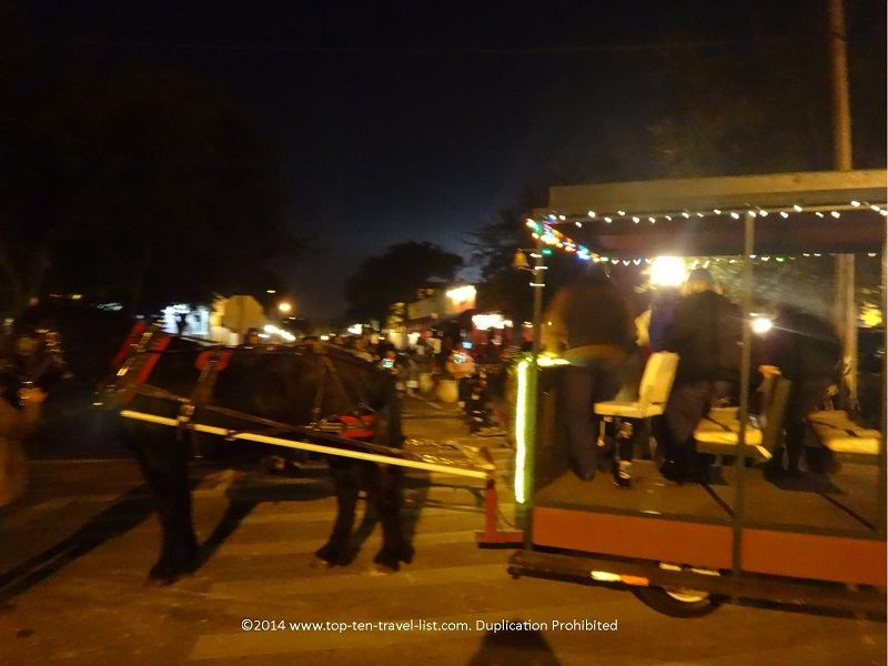 A beautiful horse drawn carriage takes you through a tiny section of the Pinellas Trail, lit for Christmas