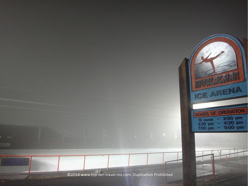 A foggy night at Appalachian Ice Arena