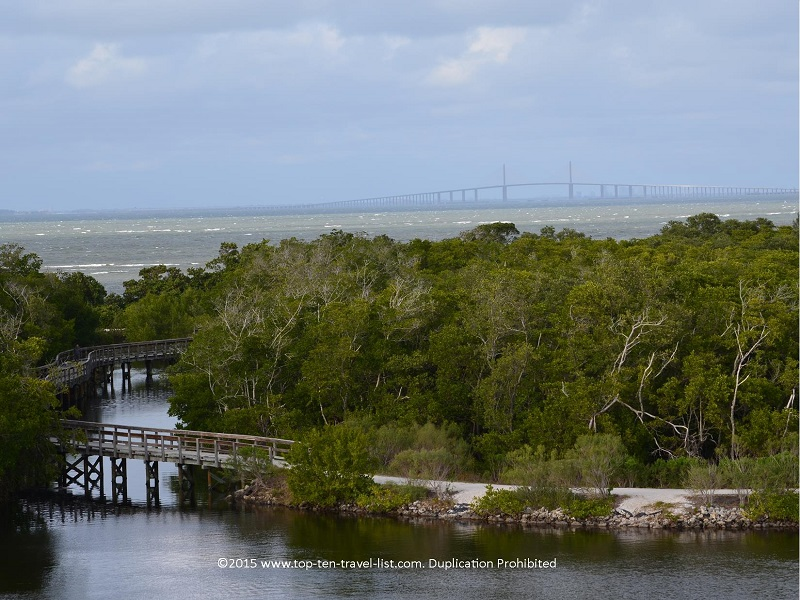 Views of Tampa Bay and the Sunshine Skyway Bridge from Robinson Nature Preseve in Bradenton, Florida