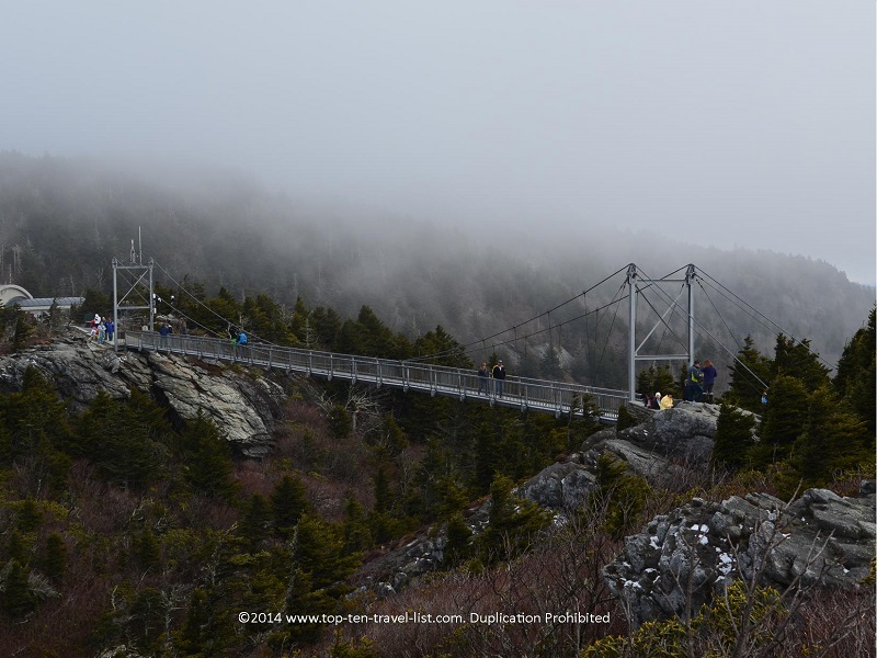 A foggy morning walking across the mile high bridge at Grandfather mountain