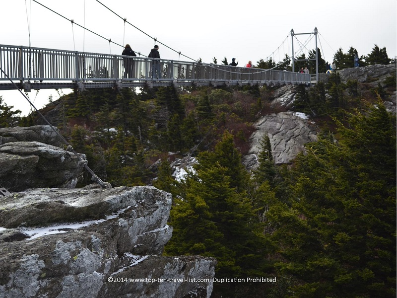 Walking across the mile high suspension bridge at Grandfather Mountain