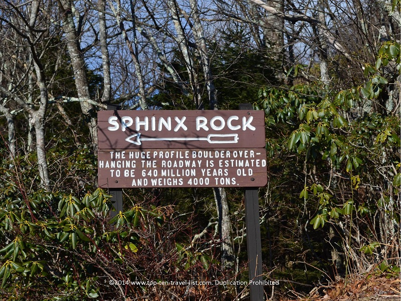 Sphinx Rock at Grandfather Mountain in North Carolina