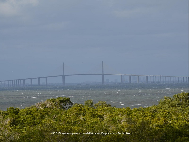 An up close view of Tampa's Sunshine Skyway Bridge