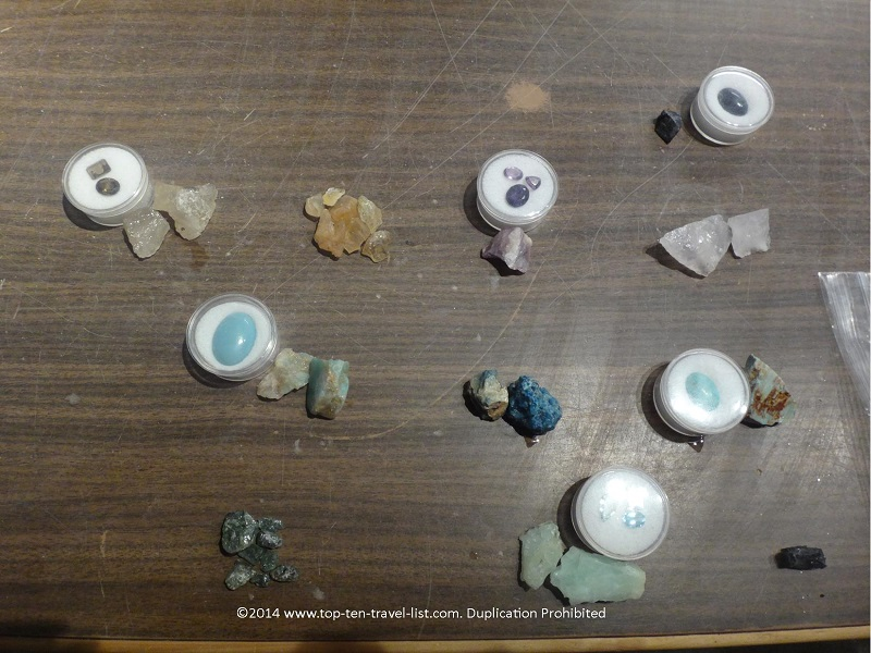 A sample of the gems you may find and an example of the type of jewelry they can be cut into