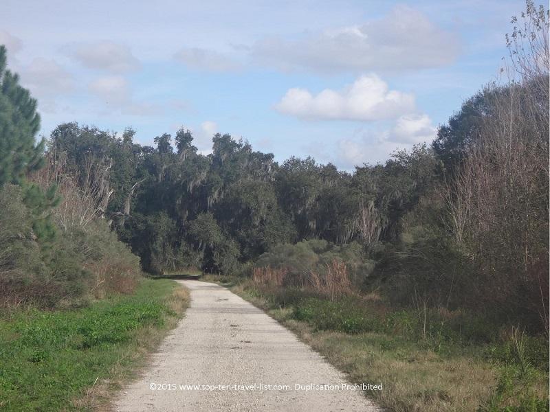 Tree lined views along the Windmill Trail at Circle B Bar Reserve in Lakeland, Florida