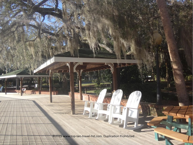 Relaxing adirondeck chairs at Silver Springs State Park in Ocala, FL