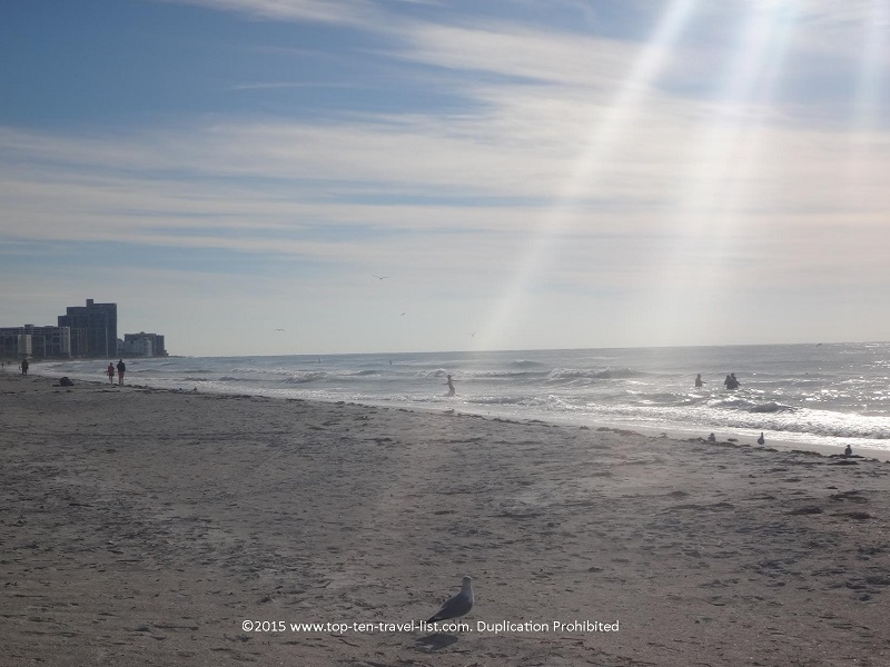 Bright skies on a winter visit to Clearwater's Sand Key Beach