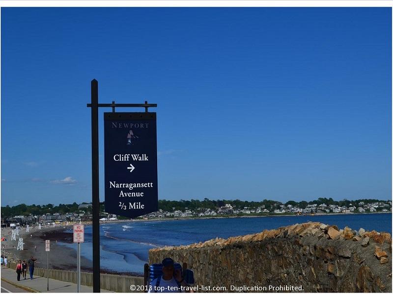 Cliffwalk sign in Newport, Rhode Island