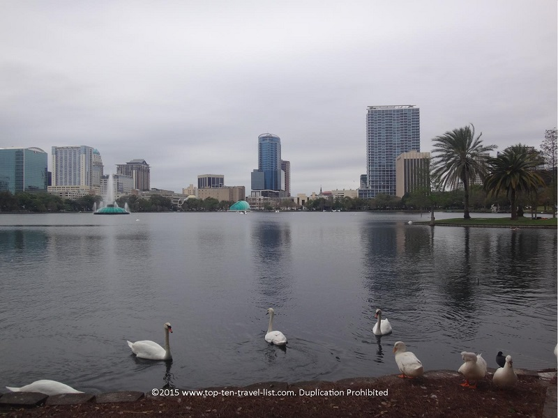 The Orlando skyline as seen from Lake Eola park