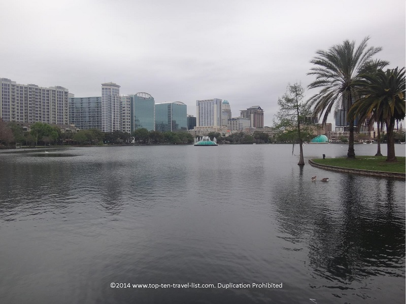 Beautiful Orlando skyline views from Lake Eola
