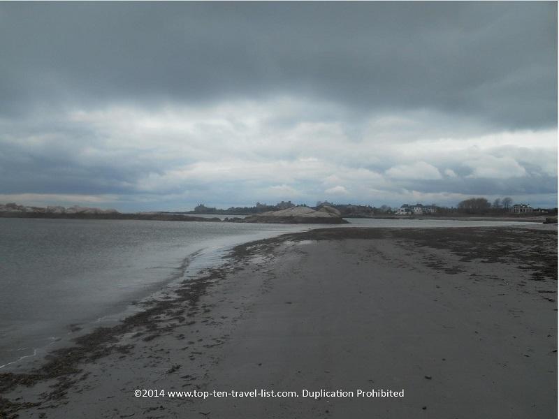 Goosebury Beach on an overcast day.