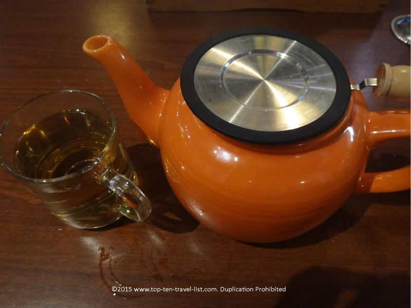 A steaming pot of organic white tea at Infusion Tea in Orlando, Florida