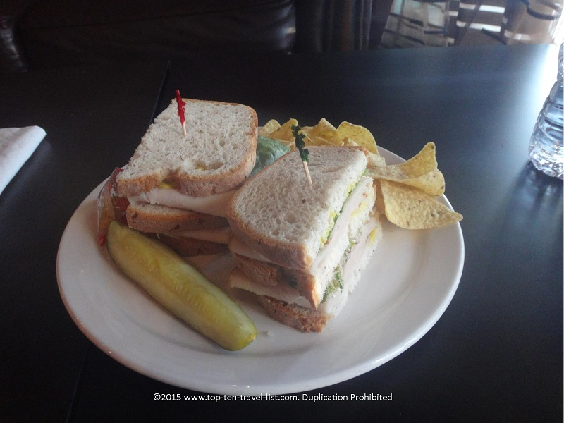 """The Yellow Jersey"" double decker sandwich, served with turkey and your choice of toppings, is sure to please your taste buds and fill you up."