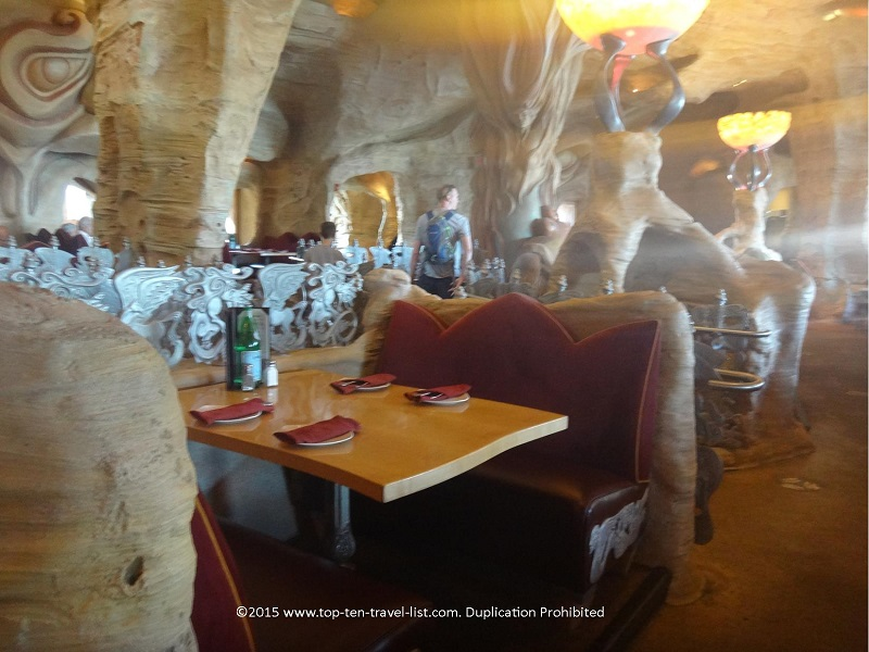 The attractive cave inspired theme is what sets Mythos apart from most theme park restaurants.