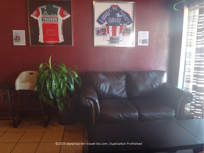 Cycling enthusiasts with appreciate the eclectic decor.