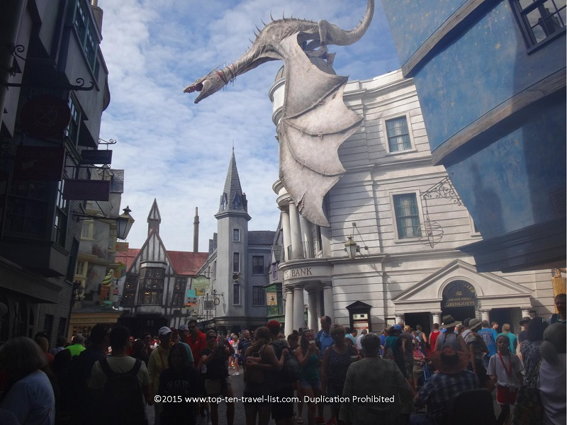 The fire breathing dragon atop Gringotts Bank is the centerpiece of Diagon Alley.