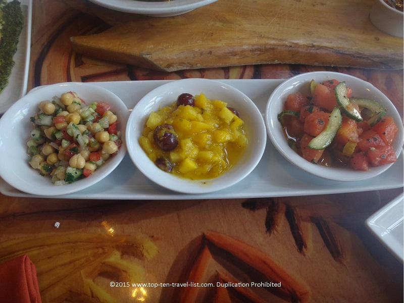 There are a handful of delicious salads to choose amongst, most of which are both gluten-free and vegan. Be sure to order the appetizer plate which allows you to sample several dishes.