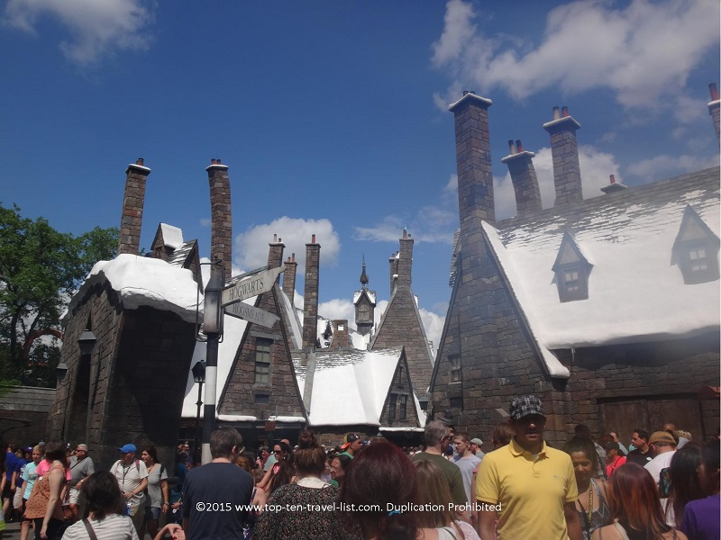 The beautiful snow capped mountains at Hogsmeade - Islands of Aventure - The Wizarding World of Harry Potter in Orlando, Florida