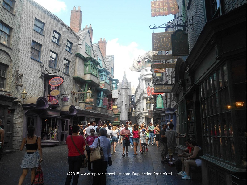 The picture-perfect Diagon Alley recreation at Universal Studios.