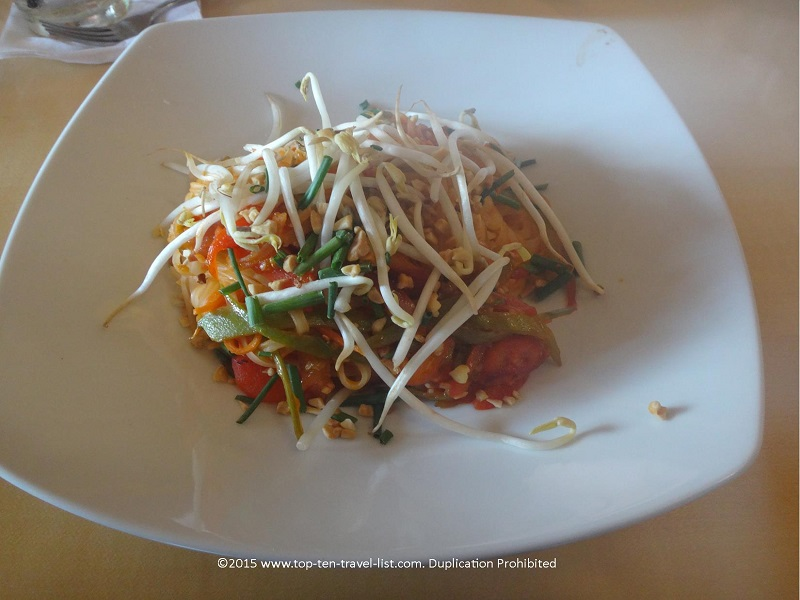 The uniquely delicious Pad Thai plate can be made vegan and/or gluten-free!