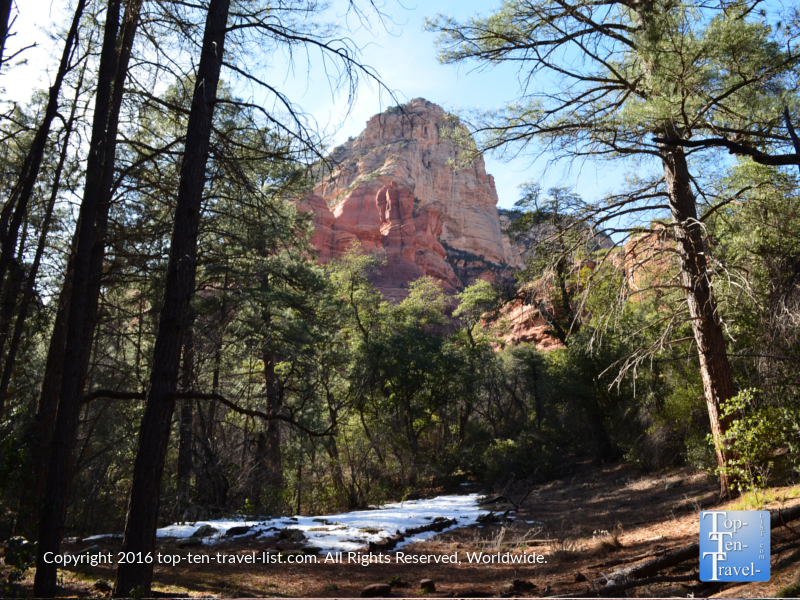 A beautiful mix of forest and red rock views along the Boynton Canyon in Sedona Arizona