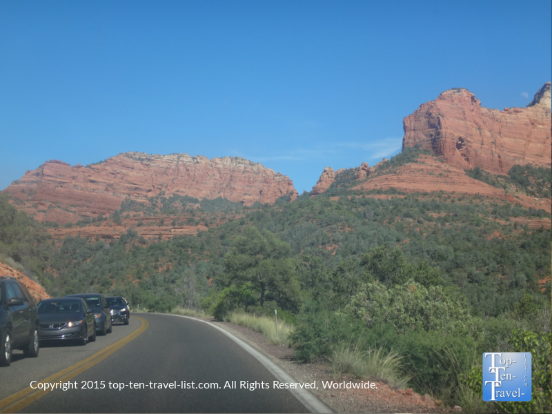 The scenic red rock views from Oak Creek Canyon drive.