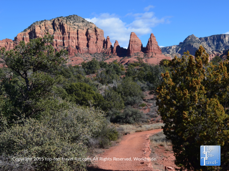 A view of the Little Horse Trail, an easy, yet long 3 mile stroll. Outstanding views of many notable red rock formations including Courthouse Butte and 2 Nuns!