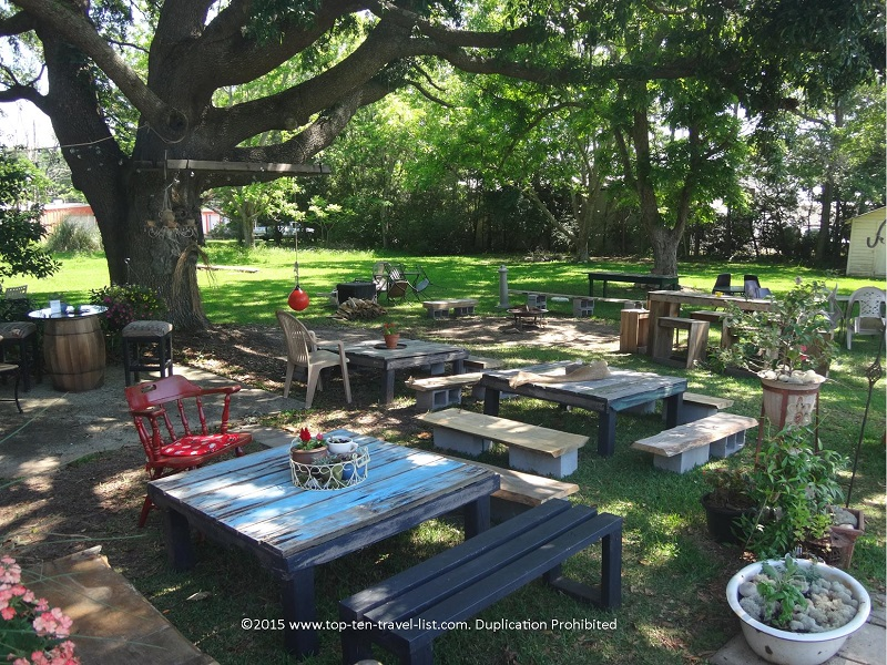 Cozy outdoor seating at Copper Kettle Tea Bar in Foley, Alabama
