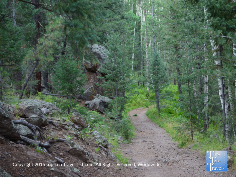 The easy, 1.5 mile Veit Springs trail, is one of the greenest trails in the area. A short stroll will take you through aspens groves and beautiful ponderosa forests.