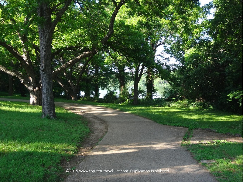 Tree lined views on Austin's beautiful Lady Bird Lake trail