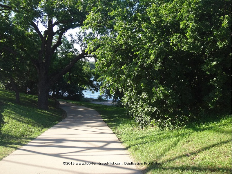 Beautiful trees and lake views on Austin's Lady Bird Lake trail