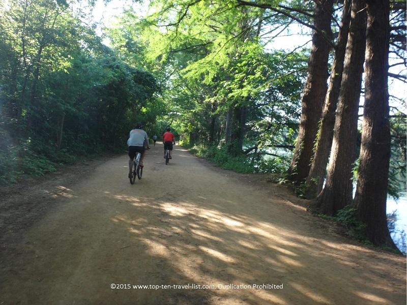 Bikers enjoying Austin's Lady Bird Lake trail