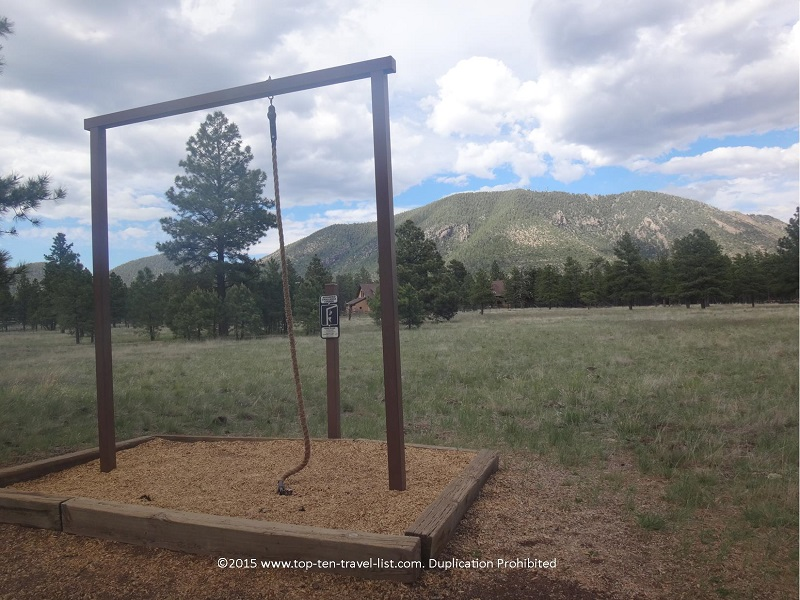 Fitness station along the 2 mile loop at Flagstaff's Buffalo Park