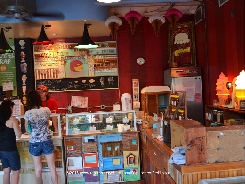 The decor inside Sweet Ritual is inviting and eclectic. You will also find a few picnic tables outdoor for enjoying your treat on warm summer nights!