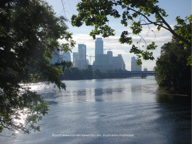 Pretty views of the Austin Texas skyline from the Lady Bird Lake trail