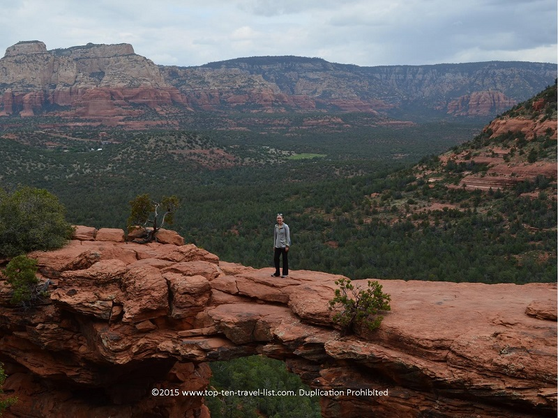 Walking across amazing Devil's Bridge in Sedona, Arizona