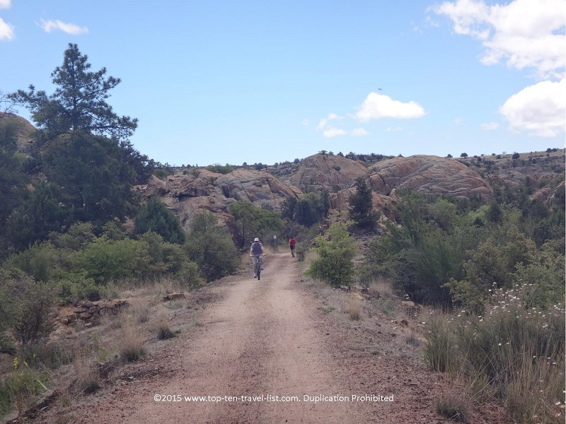 Bikers enjoying the Peavine National Recreational Trail in Prescott, Arizona