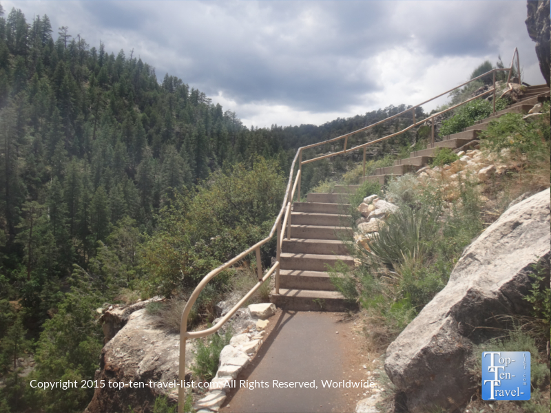 Going up the steep staircase at Walnut Canyon's Island Trail in Flagstaff, Arizona