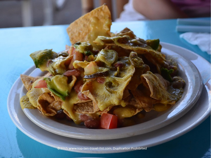 Counter Culture's vegan nachos (can be made GF) are simply amazing! Hot homemade queso, beans, avocados, diced tomatoes, and jalapenos create a winning appetizer!