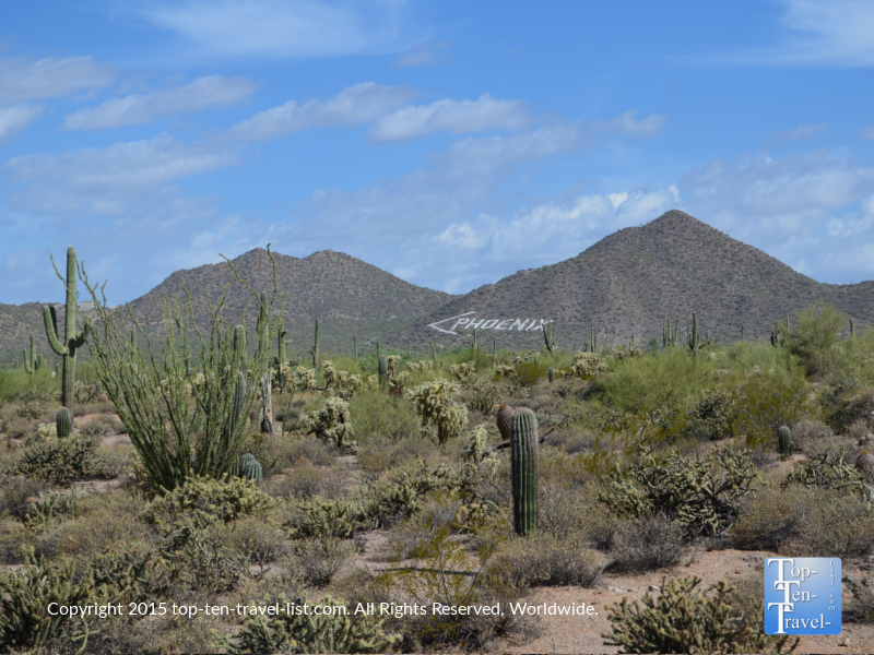 Views of Phoenix mountain from the Merkle Traill at Usery Mountain in Mesa, Arizona